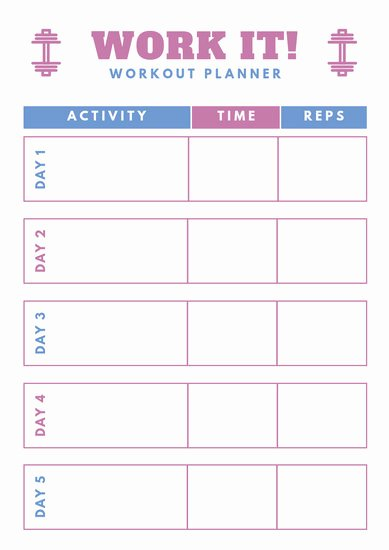 Weekly Workout Planner Template Beautiful Customize 39 Workout Planner Templates Online Canva