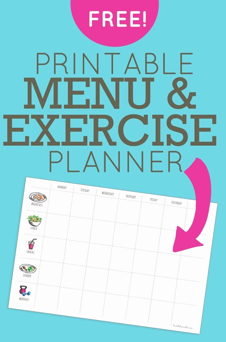 Weekly Workout Planner Template Beautiful Menu Exercise Planner Free Printable