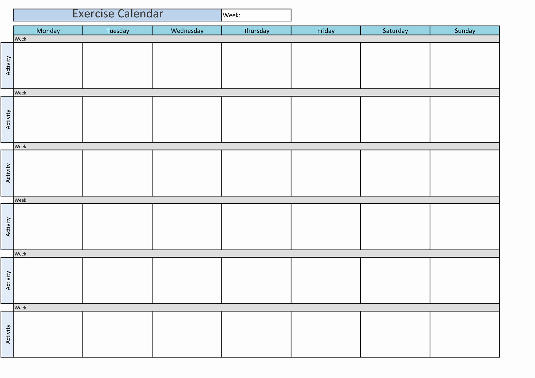 Weekly Workout Planner Template Best Of Printable Workout Calendar