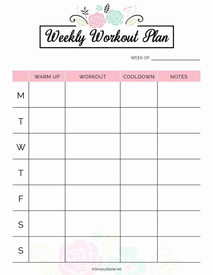 Weekly Workout Planner Template Fresh 2019 Fitness Planner Free Printable Simply Stacie