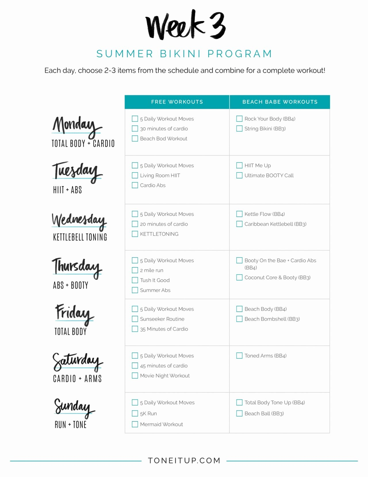 Weekly Workout Planner Template Fresh Weekly Workout Schedule toneitup
