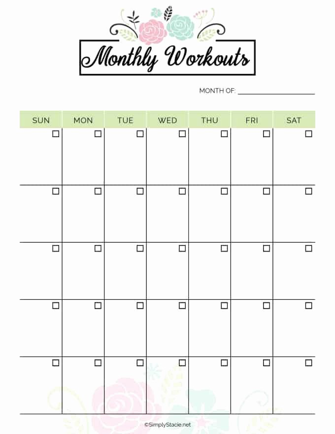 Weekly Workout Planner Template Inspirational 2019 Fitness Planner Free Printable Simply Stacie