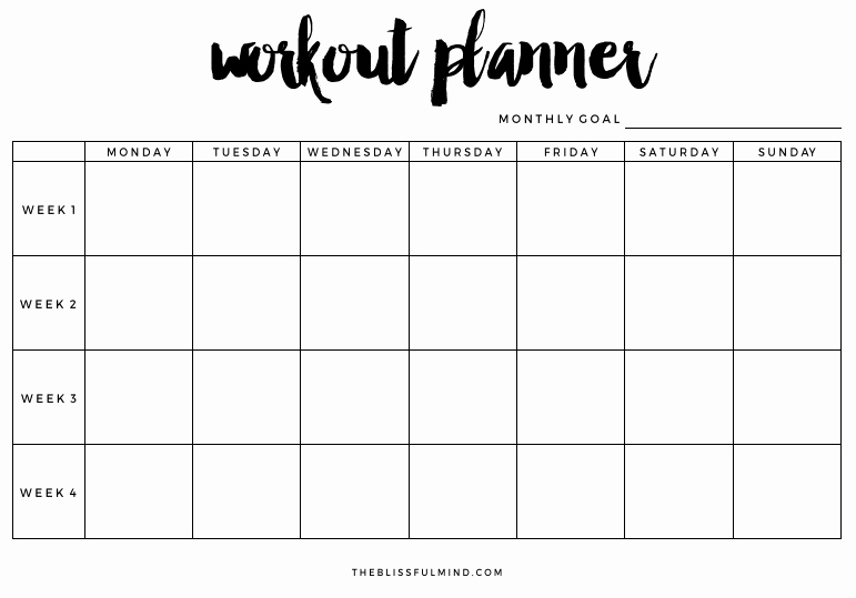 Weekly Workout Planner Template Inspirational Workout Planner Printable