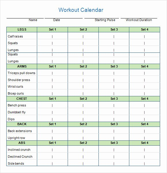 Weekly Workout Planner Template Lovely 10 Sample Workout Calendar Templates In Pdf