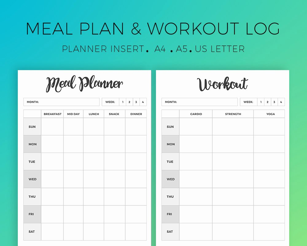 Weekly Workout Planner Template Luxury Meal Planner Workout Planner Weekly Meal Plan Weekly