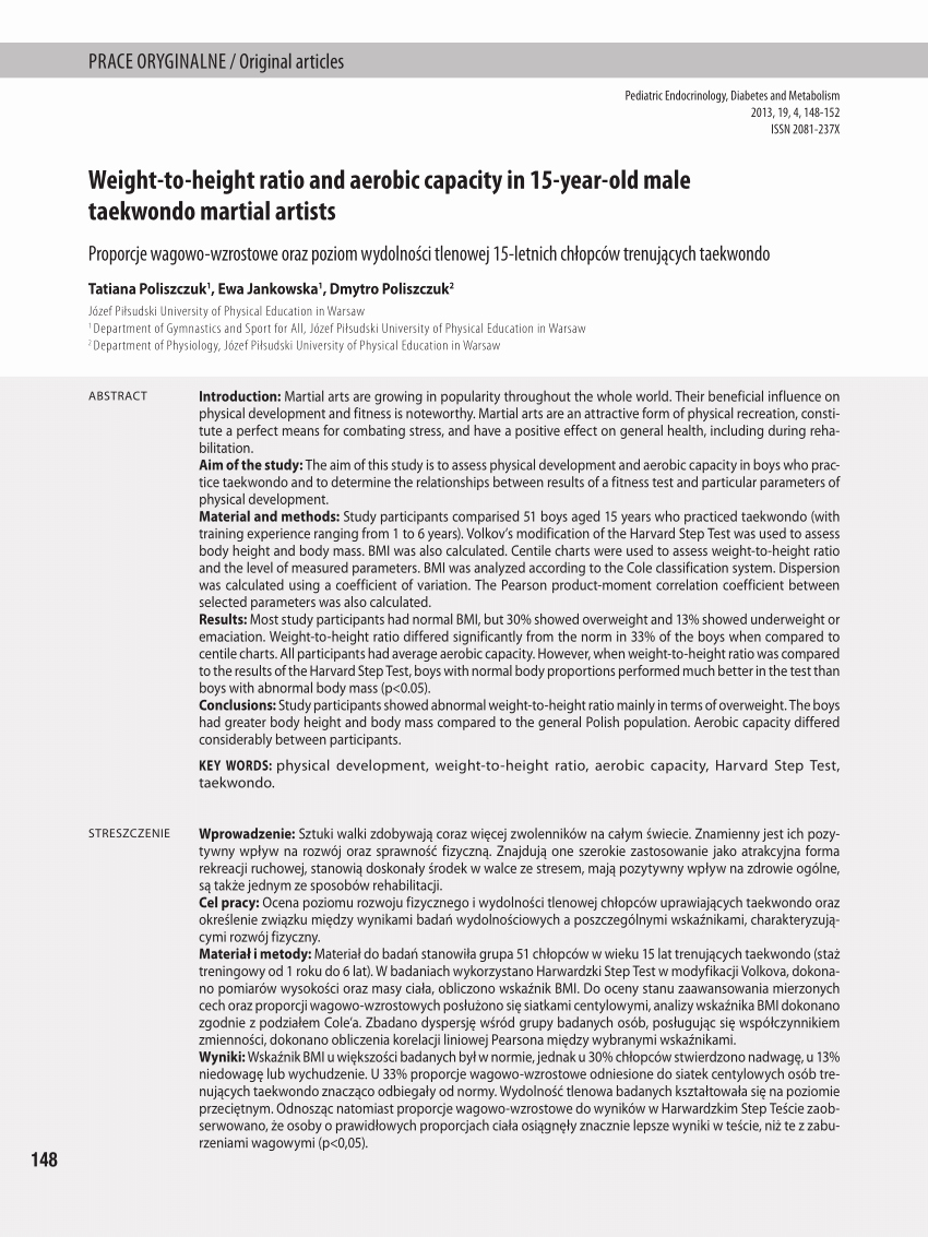 Weight to Heigh Ratio Lovely Pdf Weight to Height Ratio and Aerobic Capacity In 15