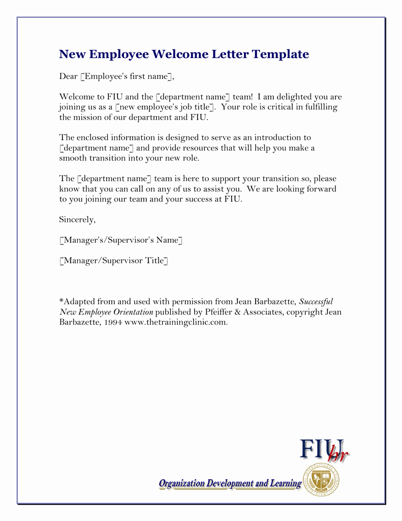 Welcome Letter to New Employee Best Of New Employee Wel E Letter Template