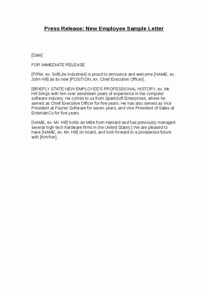 Welcome Letter to New Employee Inspirational 12 13 Sample Wel E Letter to New Employee