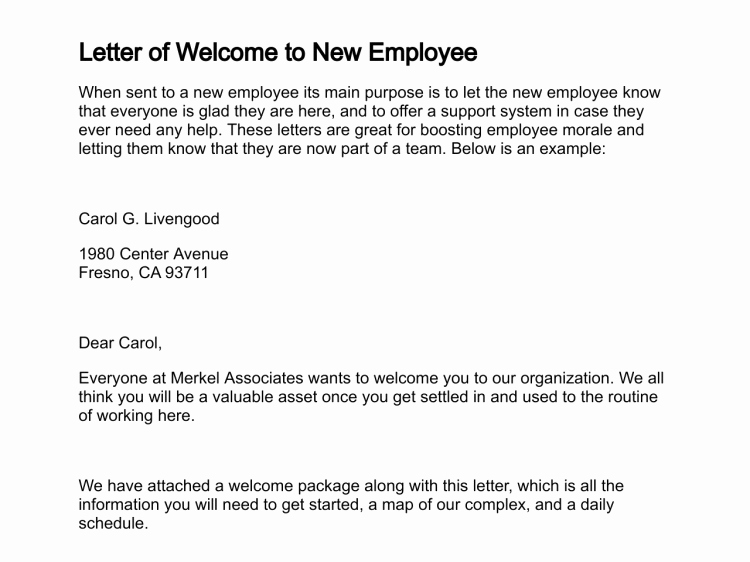 Welcome Letter to New Employee New Letter Of Wel E