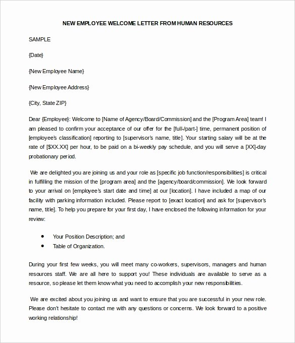 Welcome Letter to New Employee Unique 21 Hr Wel E Letter Templates Doc Pdf