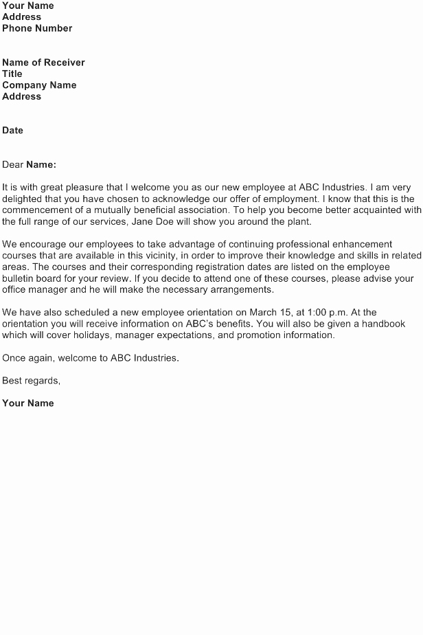 Welcome Letter to New Employee Unique Wel E Letter Sample Download Free Business Letter