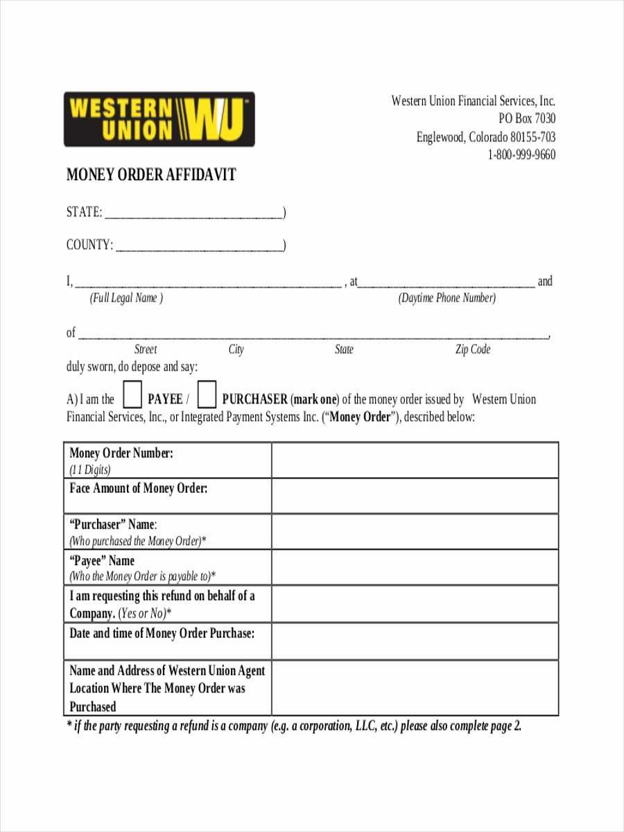 Western Union Money order Template Best Of Western Union Money order Customer Request form