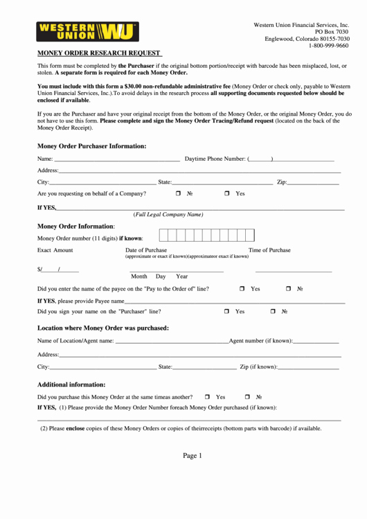Western Union Money order Template Inspirational Fillable Money order Research Request form Western Union