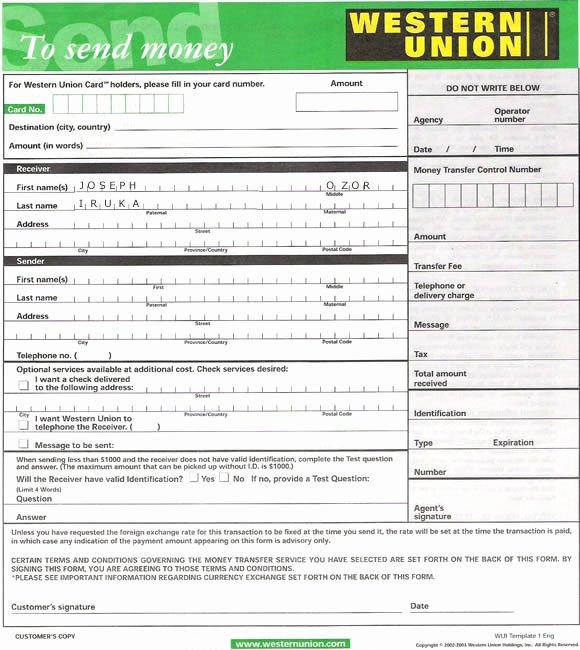 Western Union Money order Template Luxury Western Union form – Kelly Misa