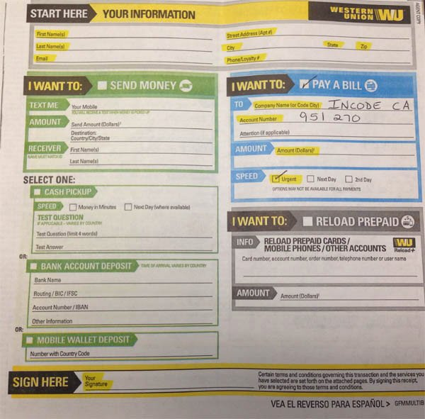 Western Union Money order Template Unique Western Union Money order Customer Request form