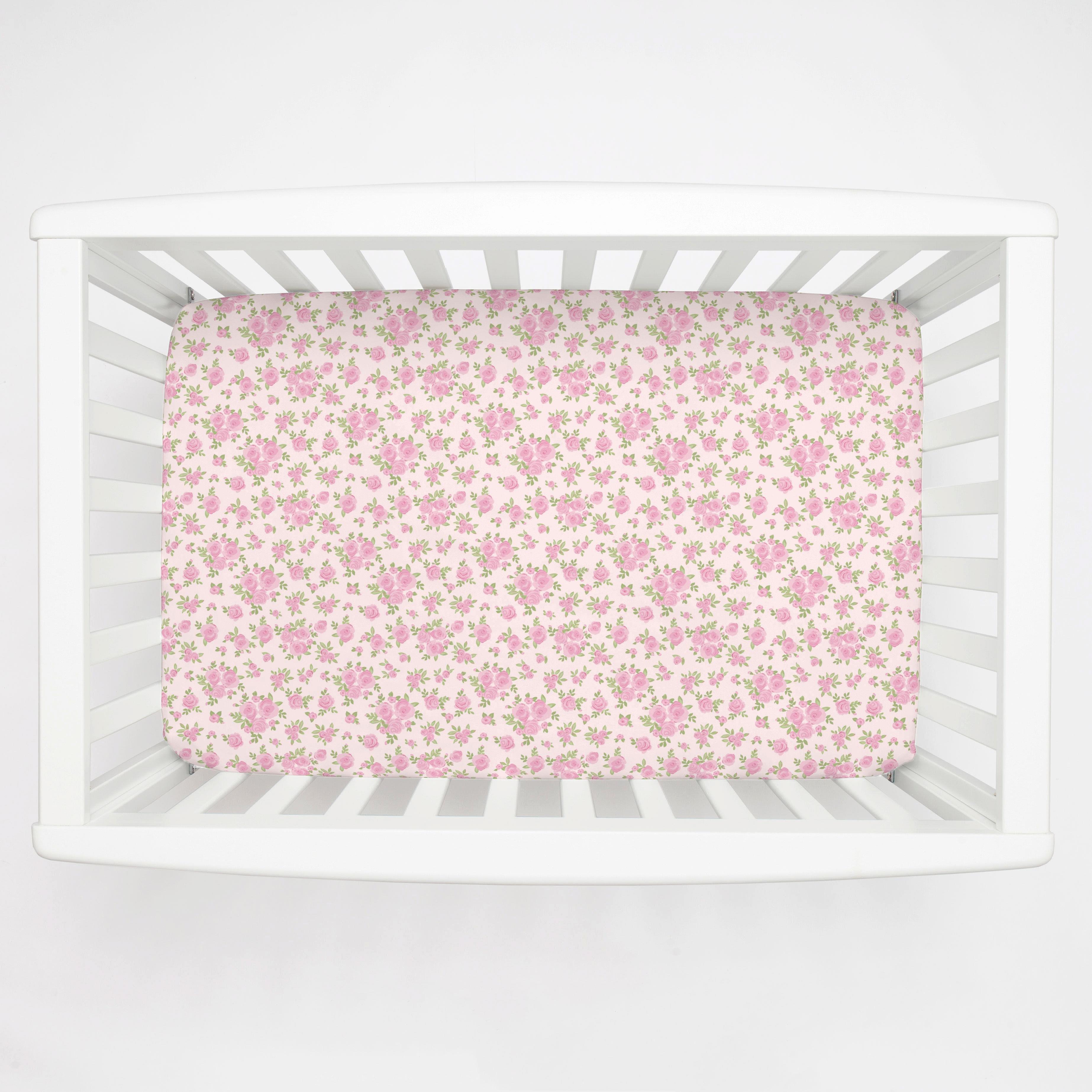What is A Crib Sheet Beautiful Pink Rosettes Mini Crib Sheet