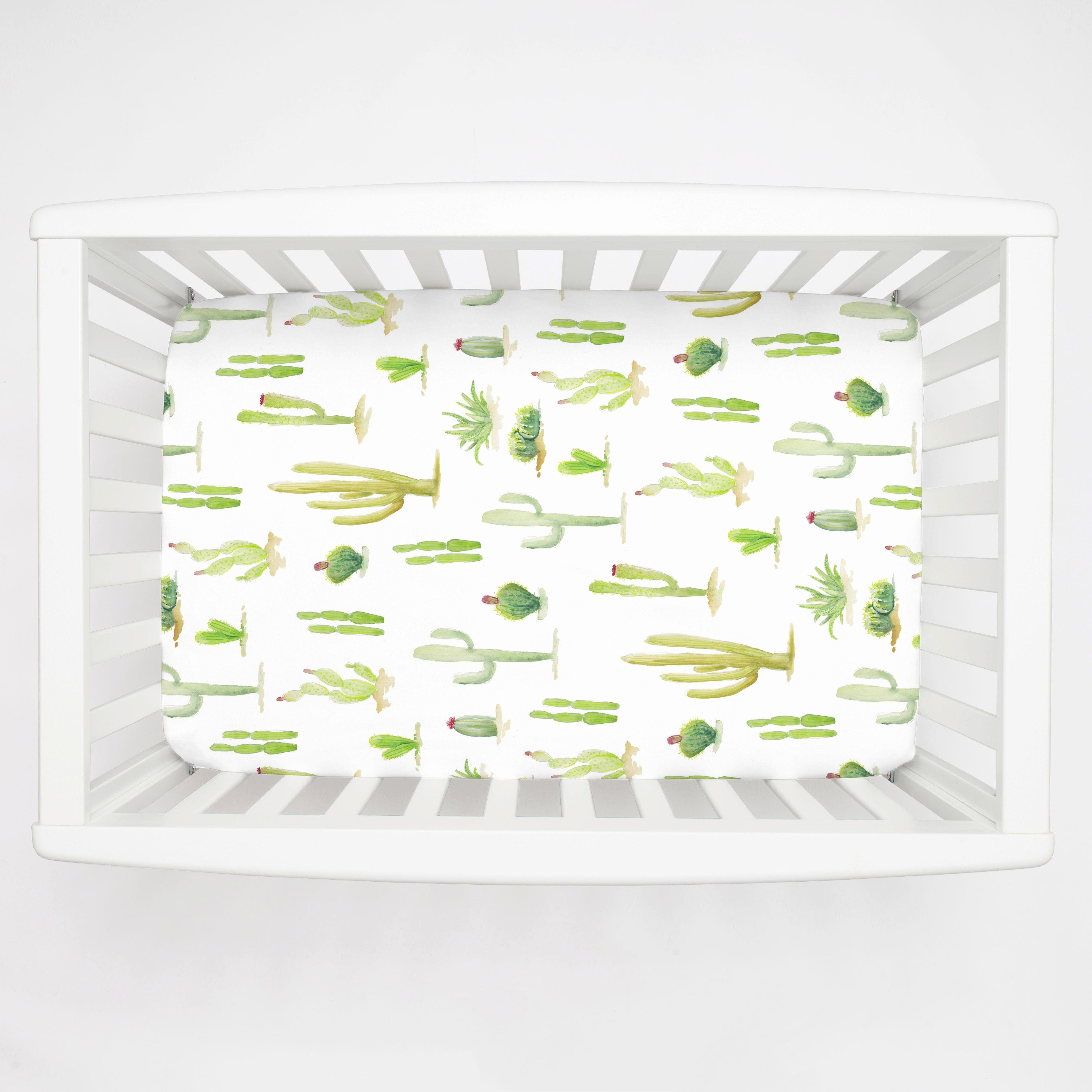 What is A Crib Sheet Best Of Watercolor Cactus Mini Crib Sheet