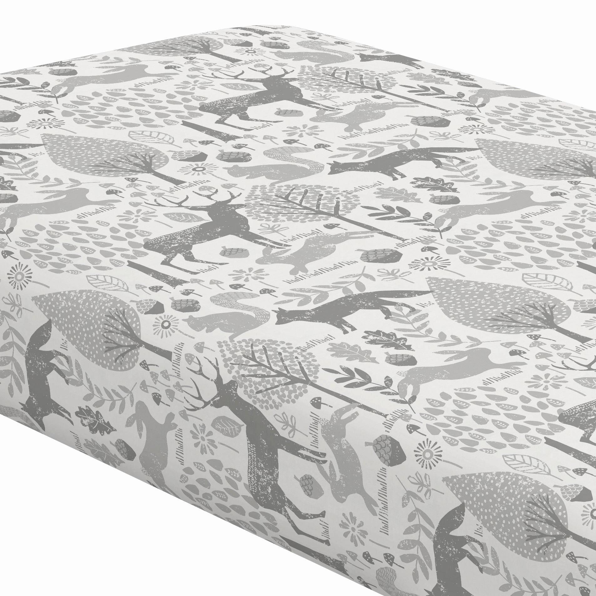What is A Crib Sheet Elegant Gray Woodland Animals Crib Sheet
