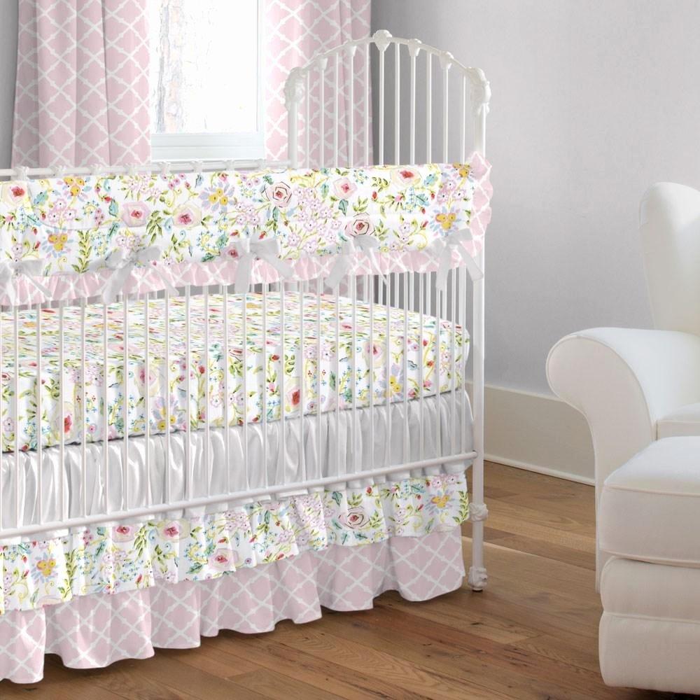 What is A Crib Sheet Elegant Pink and Gray Primrose Crib Bedding