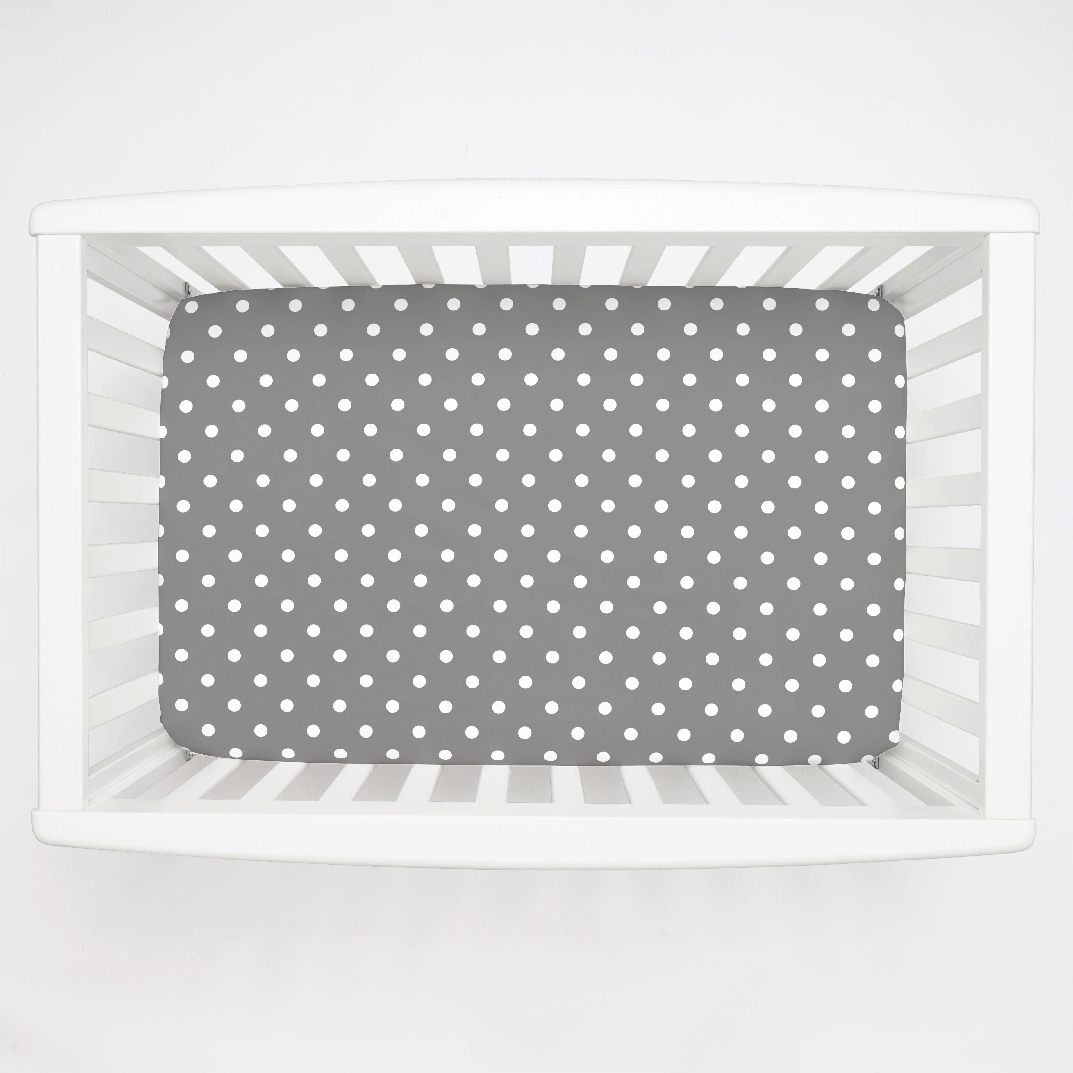 What is A Crib Sheet Fresh Gray and White Polka Dot Mini Crib Sheet