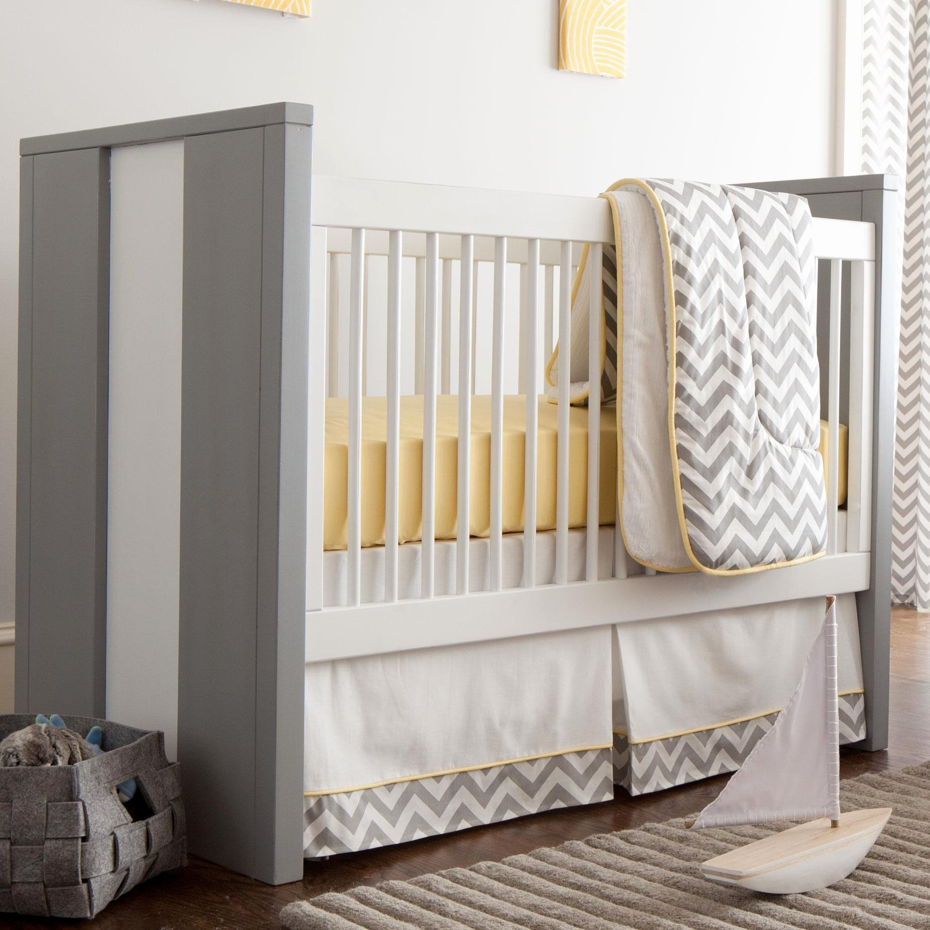 What is A Crib Sheet Lovely Gray and Yellow Zig Zag 3 Piece Crib Bedding Set