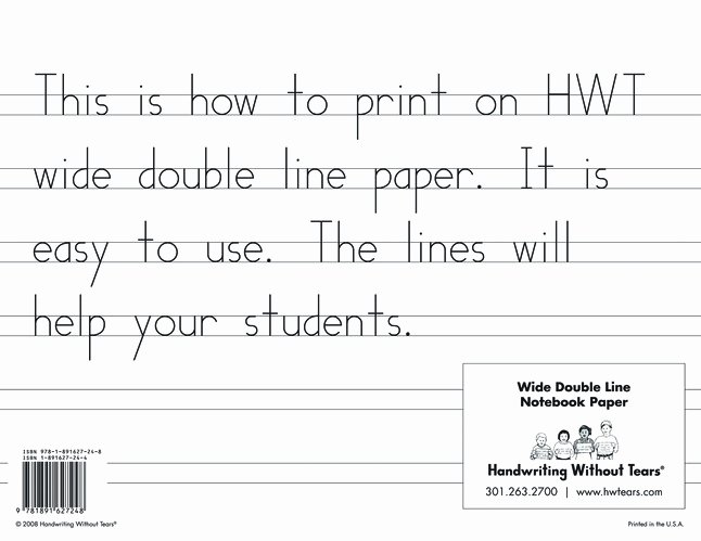 Wide Lined Paper for Kindergarten Awesome Handwriting without Tears Double Lined Wide Notebook Paper