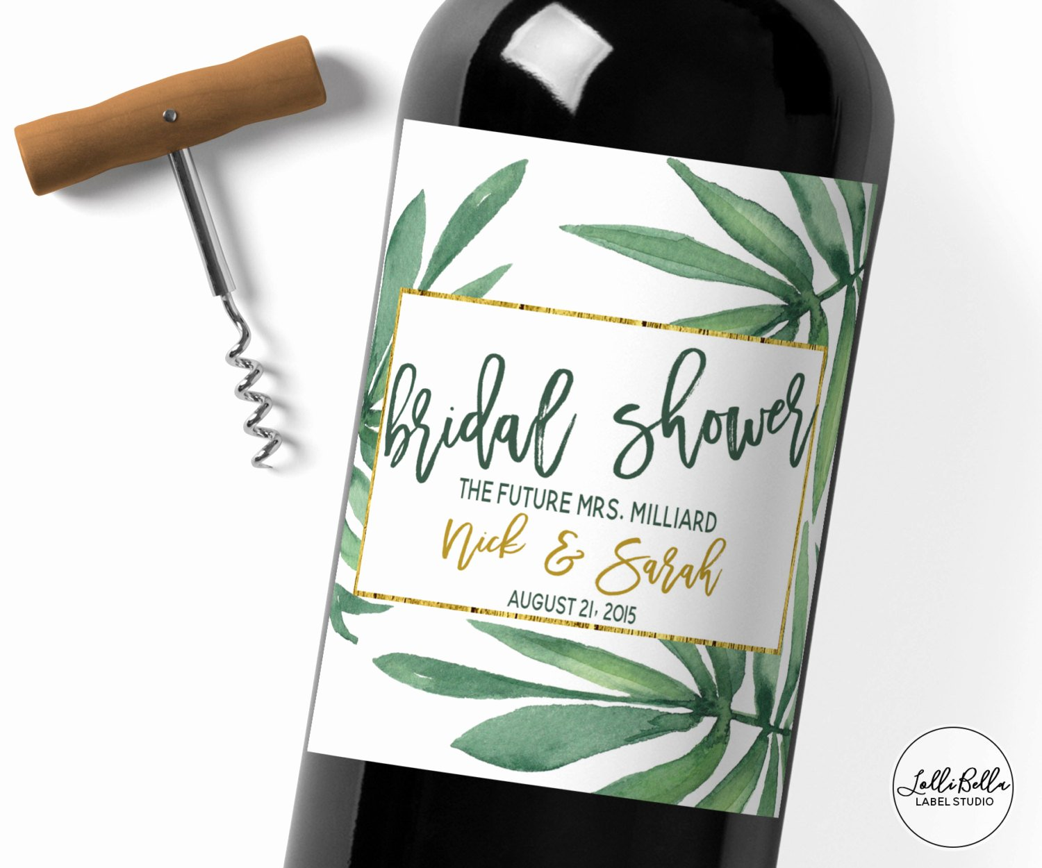 Wine Labels for Bridal Shower Beautiful Bridal Shower Wine Label Champagne Label Tropical Bridal