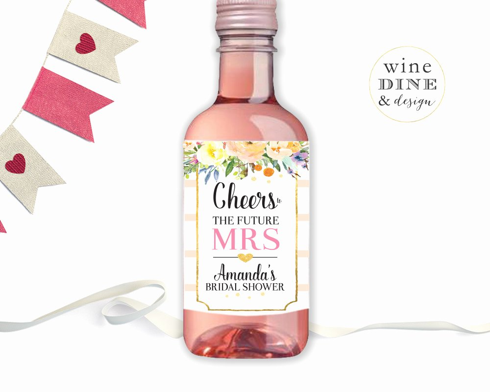Wine Labels for Bridal Shower Beautiful Mini Wine Bottle Labels Bridal Shower Favor