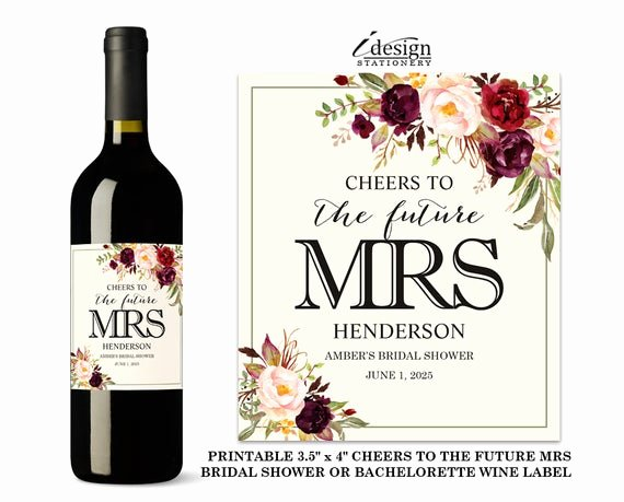 Wine Labels for Bridal Shower Elegant Bridal Shower Wine Labels Printable Cheers to the Future
