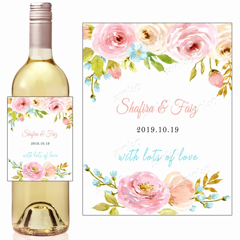 Wine Labels for Bridal Shower Luxury Personalized Floral Watercolor Bridal Shower Wine Labels