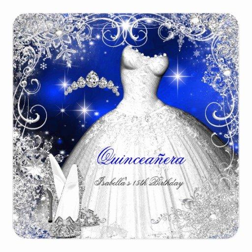 Winter Wonderland Quinceanera Invitations Awesome Quinceanera Party Royal Blue Winter Wonderland Invitation
