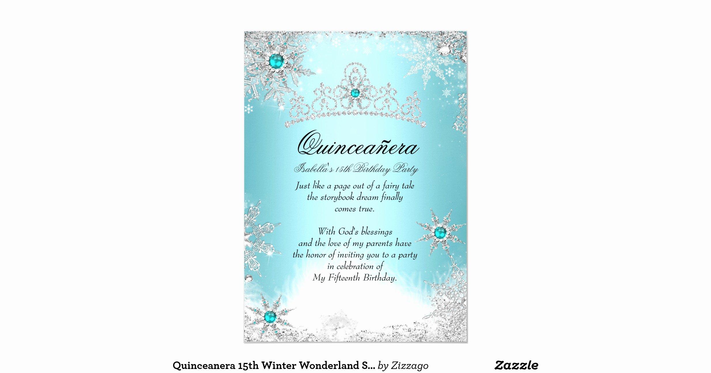 Winter Wonderland Quinceanera Invitations Beautiful Quinceanera 15th Winter Wonderland Silver Blue 2 5x7 Paper