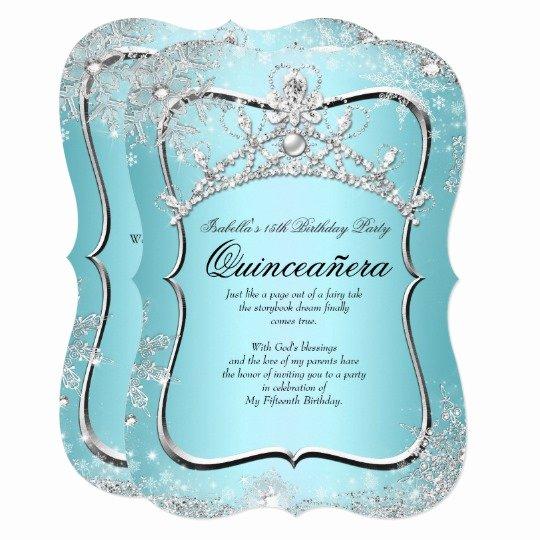 Winter Wonderland Quinceanera Invitations Beautiful Quinceanera 15th Winter Wonderland Silver Blue Invitation