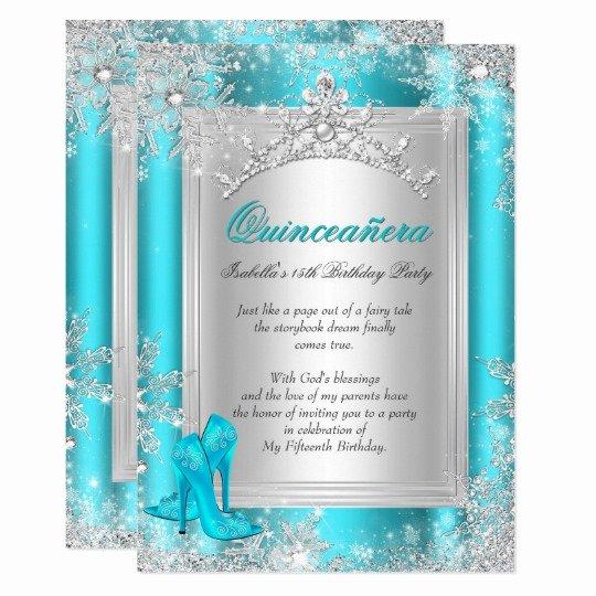 Winter Wonderland Quinceanera Invitations Beautiful Quinceanera 15th Winter Wonderland Teal Aqua Invitation