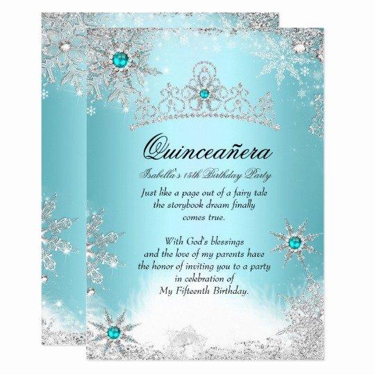 Winter Wonderland Quinceanera Invitations Best Of Quinceanera 15th Winter Wonderland Silver Blue 2 Card