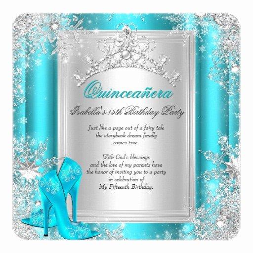 Winter Wonderland Quinceanera Invitations Elegant Quinceanera 15th Winter Wonderland Teal Aqua Invitation