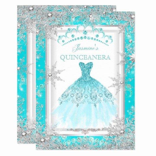 Winter Wonderland Quinceanera Invitations Elegant Teal Silver Winter Wonderland Quinceanera Party Invitation