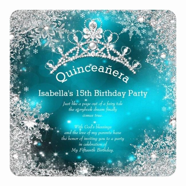 Winter Wonderland Quinceanera Invitations Fresh Quinceanera 15th Winter Wonderland Silver Teal Invitation