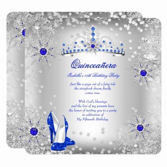 Winter Wonderland Quinceanera Invitations Fresh Quinceanera Royal Blue Silver Winter Wonderland Invitation