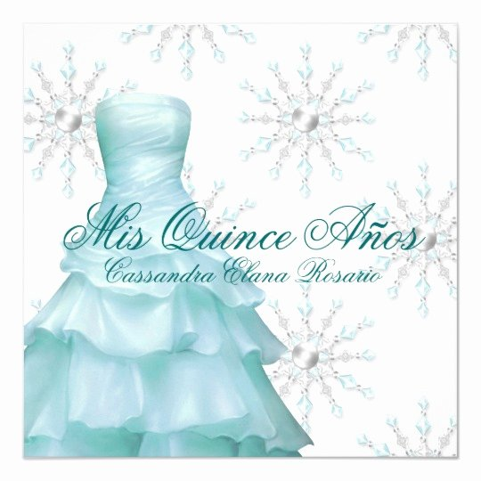 Winter Wonderland Quinceanera Invitations Fresh Teal Blue Winter Wonderland Quinceanera Invitation