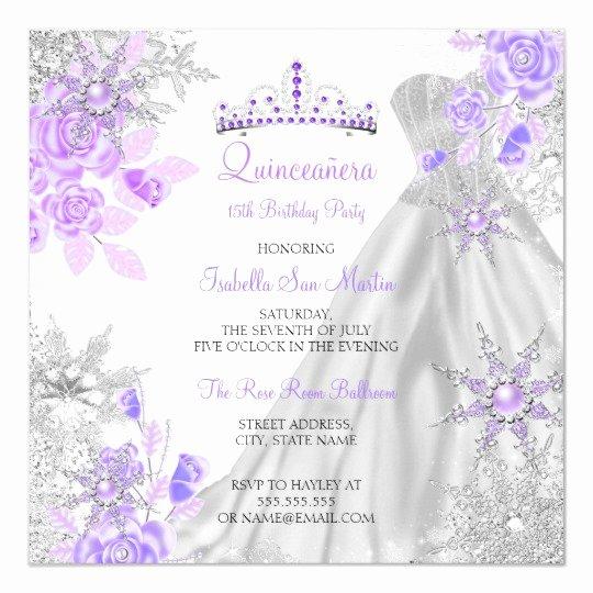 Winter Wonderland Quinceanera Invitations Inspirational Quinceanera Purple Winter Wonderland Snowflake 2