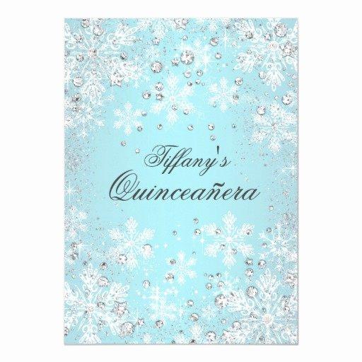 Winter Wonderland Quinceanera Invitations Lovely Blue Snowflake Winter Wonderland Quinceanera Card