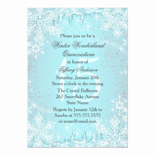 Winter Wonderland Quinceanera Invitations Lovely Blue Snowflake Winter Wonderland Quinceanera Personalized