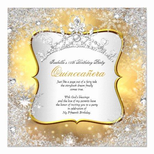 Winter Wonderland Quinceanera Invitations Lovely Quinceanera 15th Winter Wonderland Silver Gold Invitation