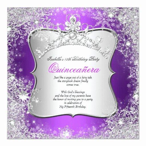 Winter Wonderland Quinceanera Invitations Luxury Quinceanera 15th Winter Wonderland Silver Purple