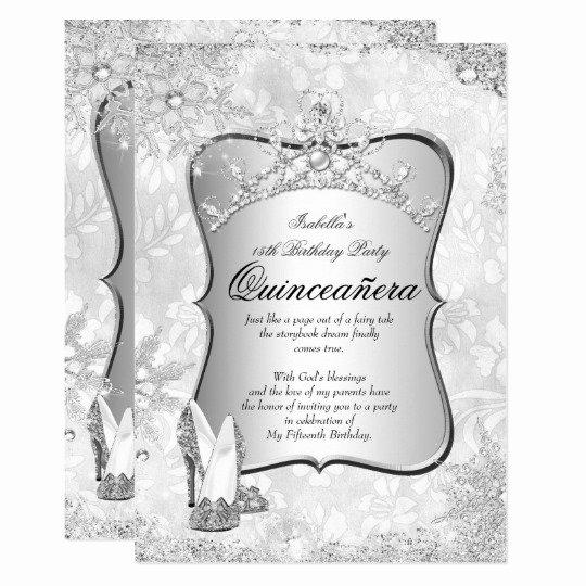 Winter Wonderland Quinceanera Invitations Luxury Quinceanera Winter Wonderland Silver Snowflake 2