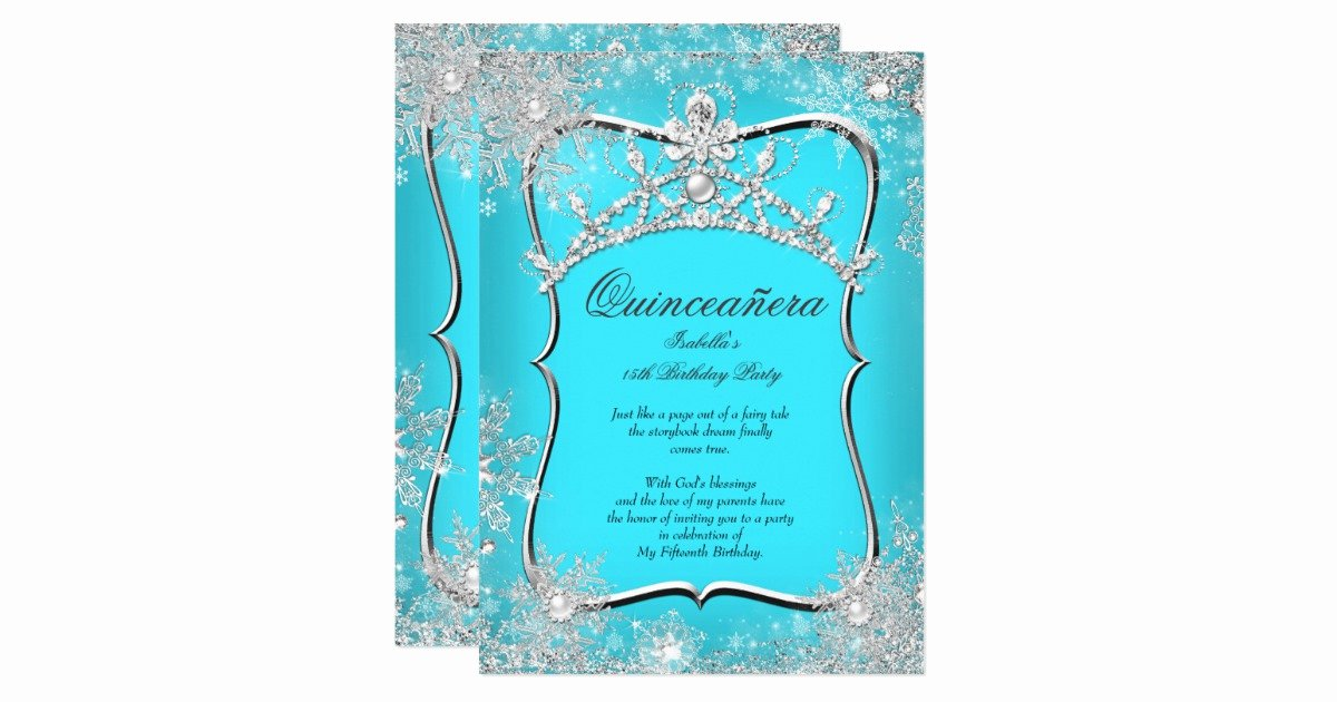 Winter Wonderland Quinceanera Invitations New Quinceanera 15th Winter Wonderland Silver Teal Invitation