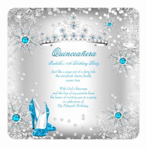 Winter Wonderland Quinceanera Invitations New Quinceanera Blue Silver Winter Wonderland Invitation
