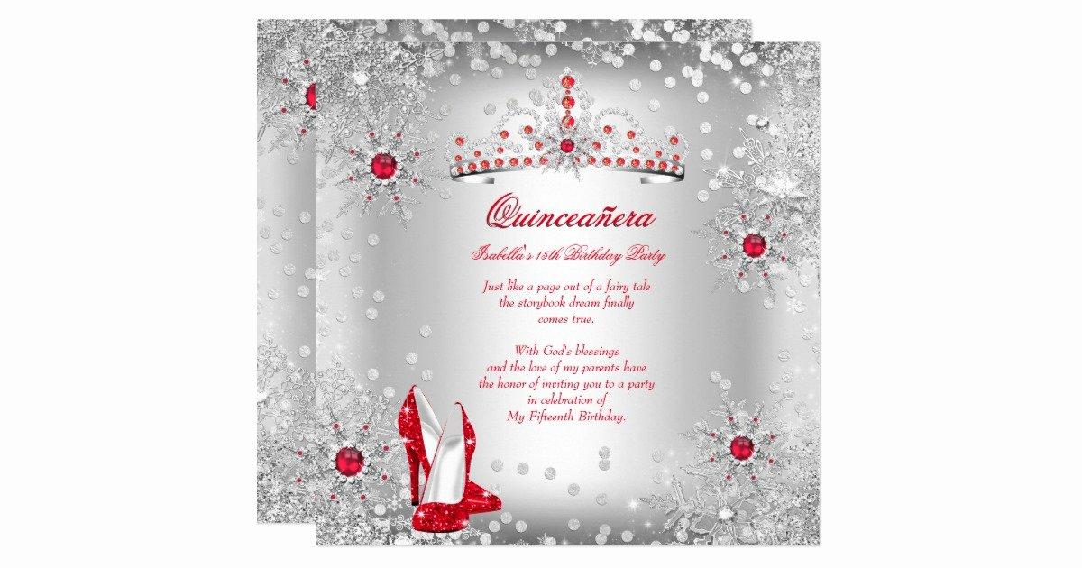 Winter Wonderland Quinceanera Invitations New Quinceanera Red Silver Winter Wonderland Invitation