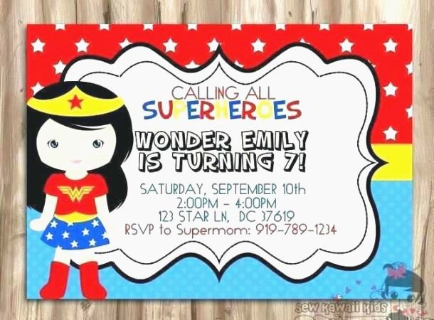 Wonder Woman Invitation Template Awesome 37 Persnickety Wonder Woman Birthday Card Printable